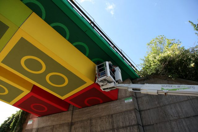 Street Artist Megx Creates Giant Lego Bridge in Germany street art Lego Germany