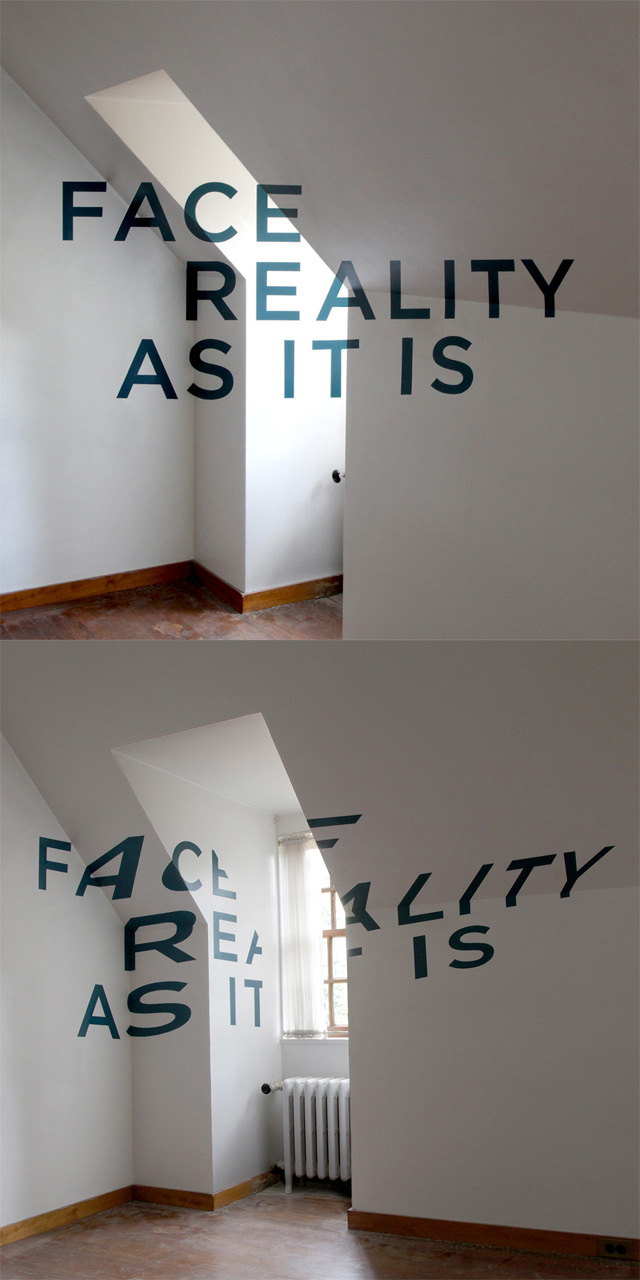 Face Reality As It Is: Anamorphic Typography by Thomas Quinn typography anamorphism