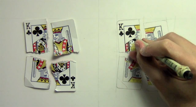 Illustrator Mark Crilley Shreads a Playing Card and Draws a Photo Realistic Copy photo realism illustration drawing cards