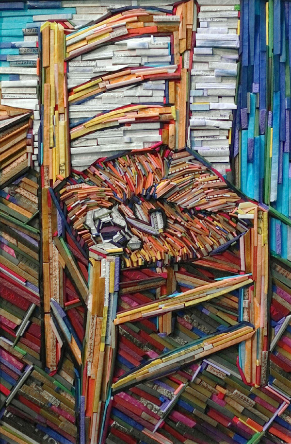 Famous Paintings Recreated Using Wood Wrapped in Colorful Newsprint paper painting mosaics