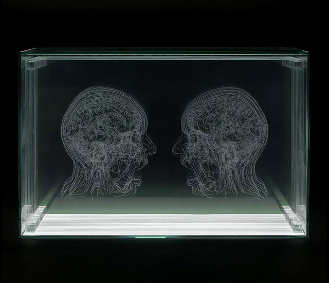 Layered MRI Self Portraits Engraved in Glass Sheets by Angela Palmer sculpture science MRIs glass anatomy