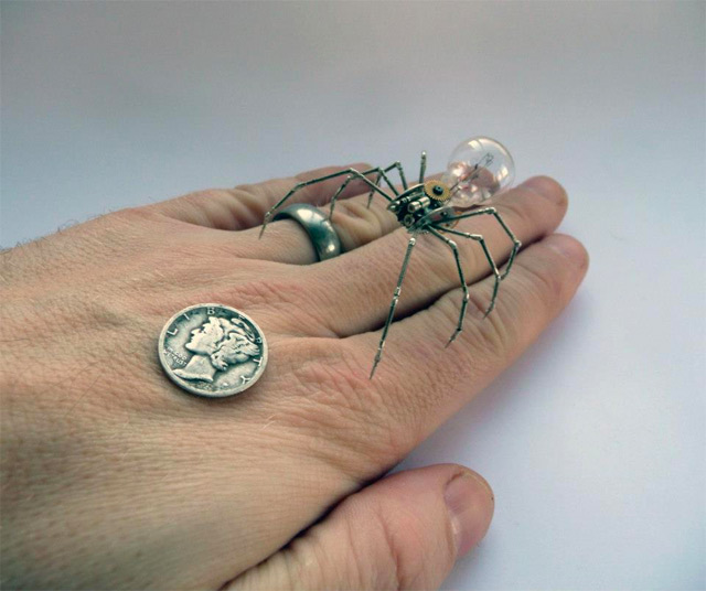 Mechanical Arthropods and Insects Made from Watch Parts and Light Bulbs  watches sculpture insects assemblage