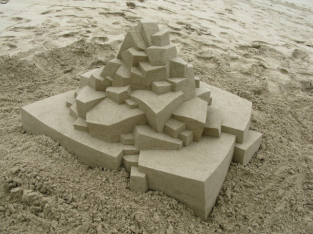 Geometric Sandcastles by Calvin Seibert sculpture sand geometric