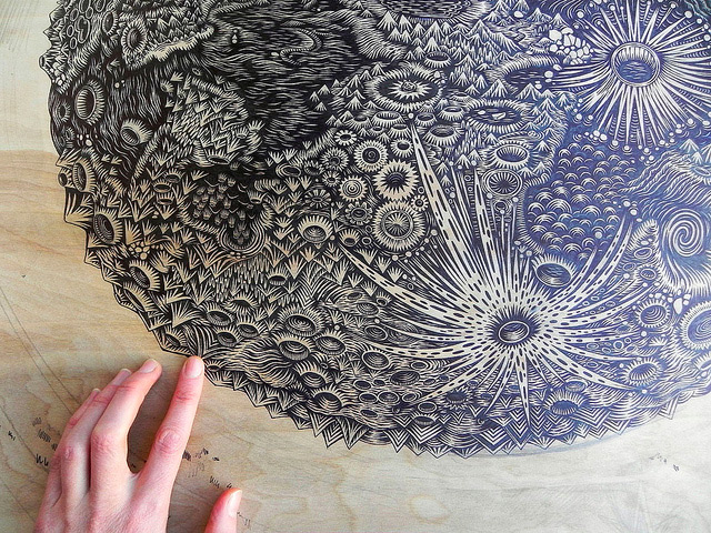 Carving the Moon: A New Woodcut Print by Tugboat Printshop wood prints wood posters and prints moon illustration