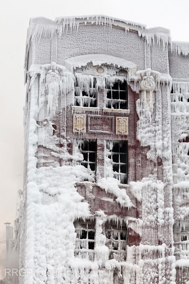Fire and Ice: The Frozen Aftermath of a Chicago Warehouse Fire ice fire Chicago