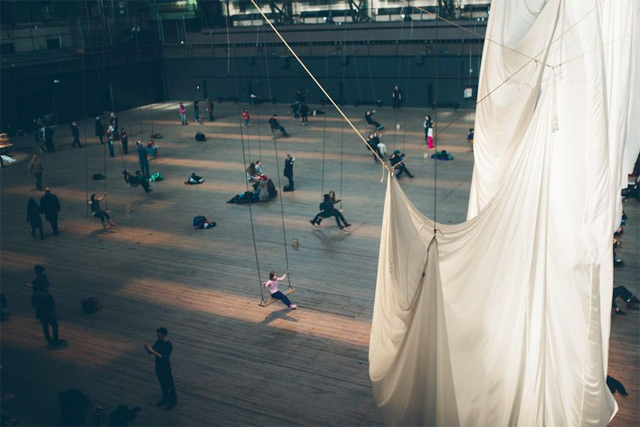 The Event of a Thread: Anne Hamiltons Groundbreaking Installation Filmed and Photographed by Paul Octavious  swinging New York installation