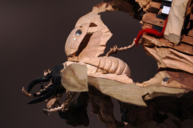 New Skeletons and Insects Carved from Common Inanimate Objects by Maskull Lasserre wood sculpture animals anatomy