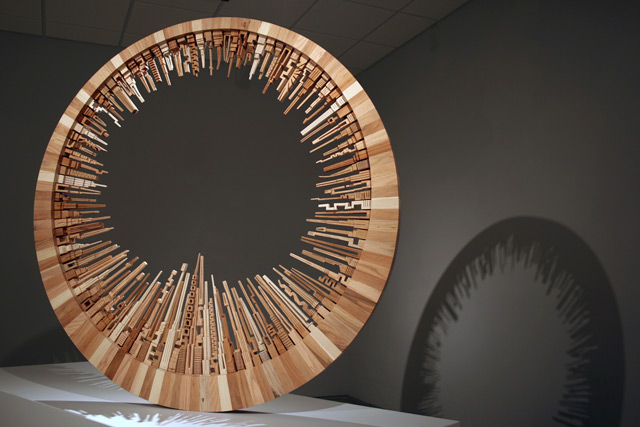 Sketching with a Band Saw: James McNabbs Scrap Wood Cityscapes wood sculpture architecture