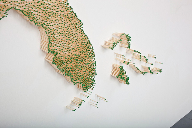 United States Map Made from Thousands of Wood Matches by Claire Fontaine  United States multiples matches maps installation fire