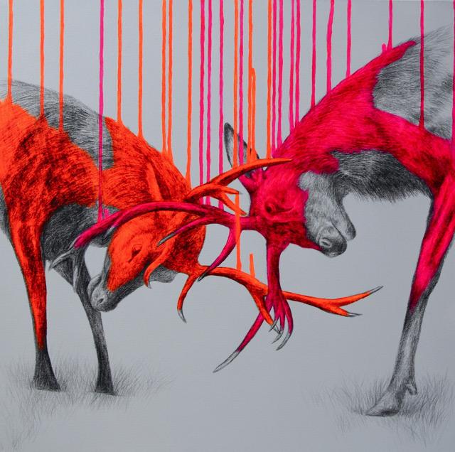 Fluorescent Mixed Media Animals by Louise McNaught mixed media illustration animals
