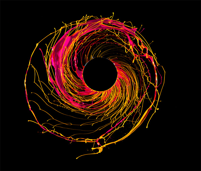 Black Hole: Photographs of Paint Flung by Centrifugal Force by Fabian Oefner paint high speed