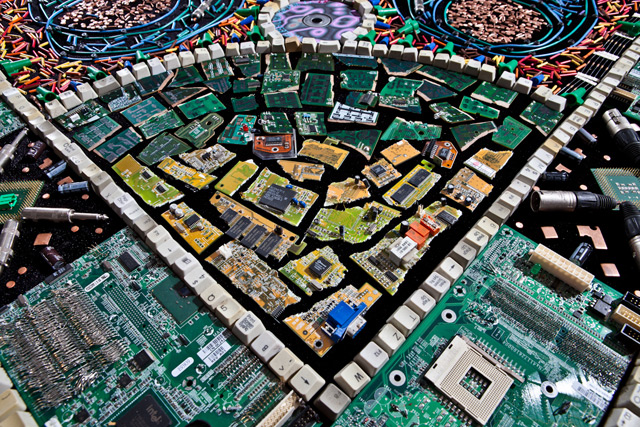 An Ornate Rug Made of Discarded Computer Parts and Other Electrical Objects textiles computers