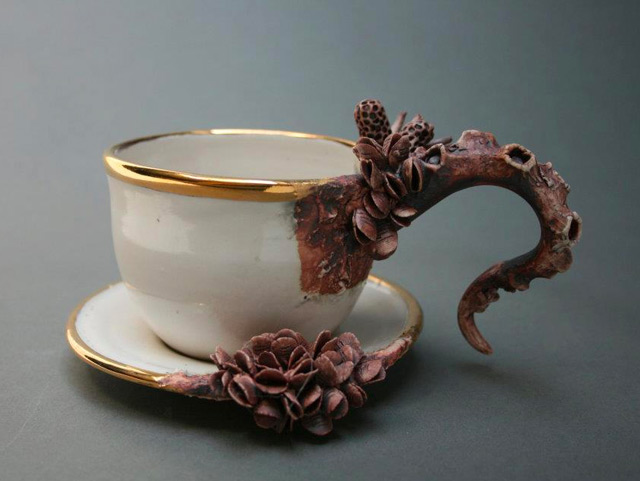 Bottom Feeders: Ceramic Objects Encrusted with Marine Life by Mary OMalley  sculpture ocean nature ceramics