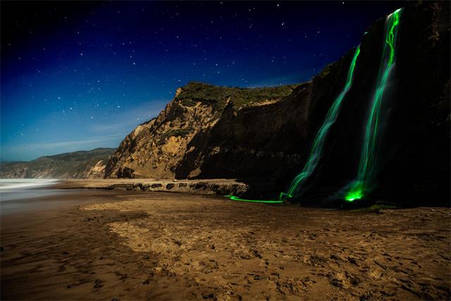 Long Exposure Neon Waterfalls waterfalls neon long exposure light California
