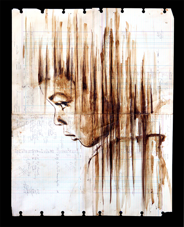 Portraits Painted with Coffee on Century Old Ledger Paper by Michael Aaron Williams portraits painting coffee