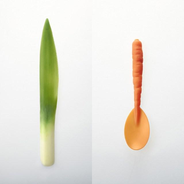 Graft Tableware: Biodegradable Utensils that Look Like Vegetables  vegetables plants fruit food dining biodegradable