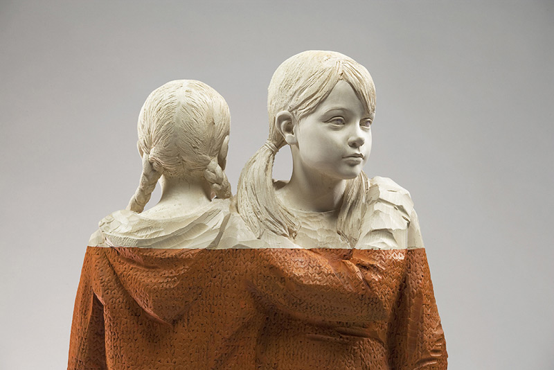 Figurative Wood Sculptures by Willy Verginer wood sculpture