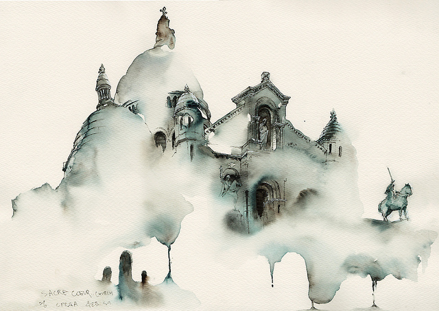 Dreamy Architectural Watercolors by Sunga Park watercolor painting architecture
