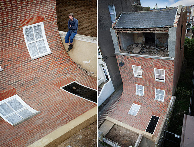 A Brick Facade Appears to Melt Off of an Apartment Building in Margate installation architecture