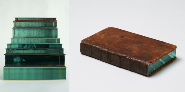 Unexpected Layers of Glass Added to Stones and Books by Ramon Todo stone sculpture glass books