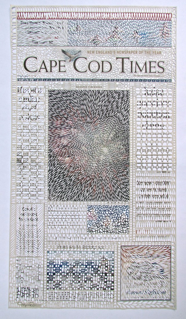 Newspaper Pages Cut Like Embroidered Lace by Myriam Dion  pattern paper lace