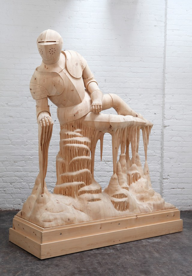 Artist Morgan Herrin Transforms Construction Grade Lumber into Surreal Classical Sculptures wood sculpture