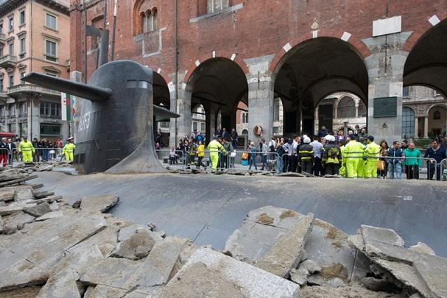 A Huge Submarine Bursts through the Streets of Milan submarines Milan installation advertising