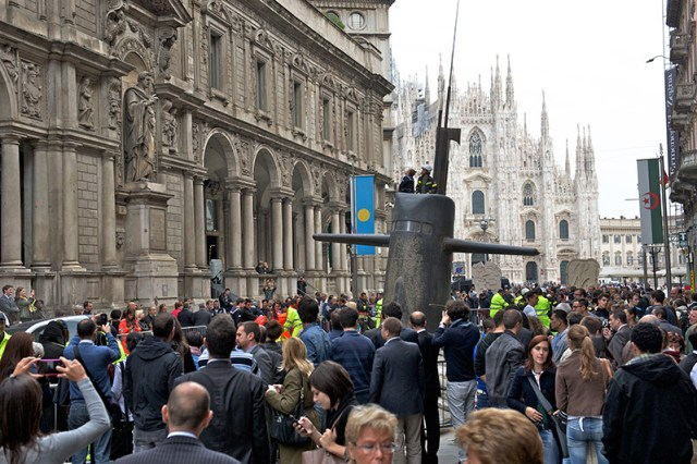 A Huge Submarine Bursts through the Streets of Milan submarines Milan installation advertising
