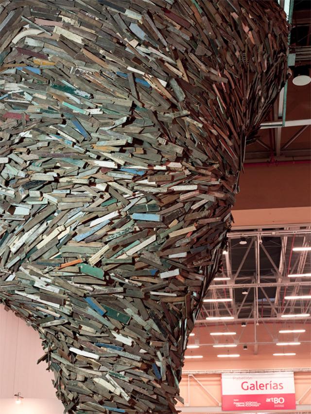 A Tornado Of Repurposed Wood Sweeps Through Art Bogot 225