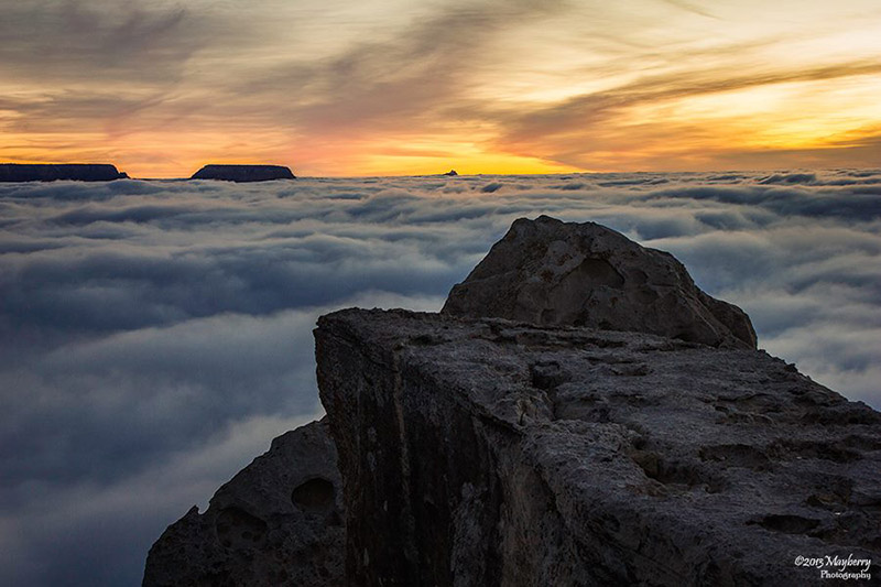 Rare Temperature Inversion Creates River of Clouds Inside the Grand Canyon weather Grand Canyon clouds
