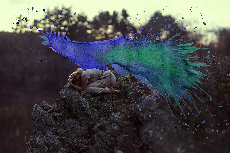 Photographs and Watercolors Merge in Surreal Paintings by Aliza Razell watercolor self portait painting