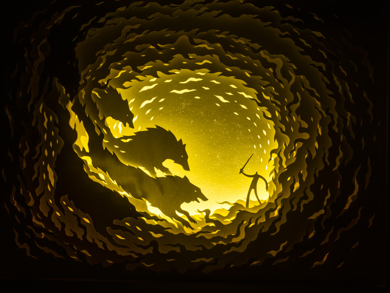 Illuminated Cut Paper Light Boxes by Hari & Deepti paper illustration dioramas