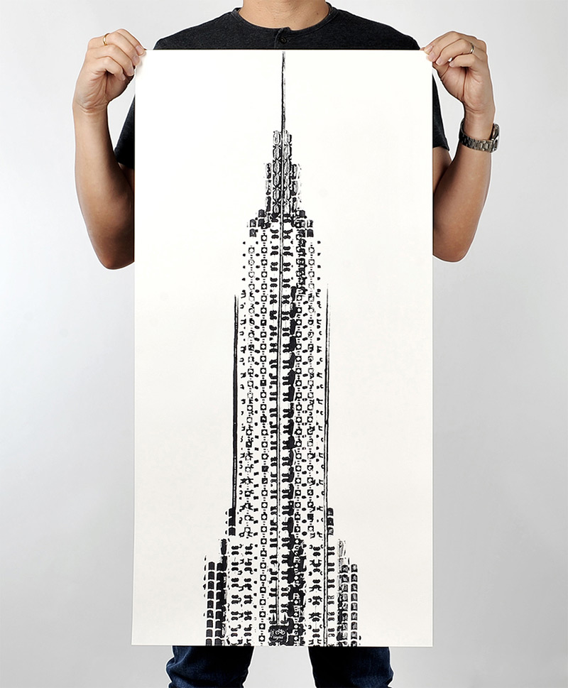 The Cyclists Empire: A New Print of the Empire State Building Made from Bicycle Tracks tires posters and prints New York bicycles architecture