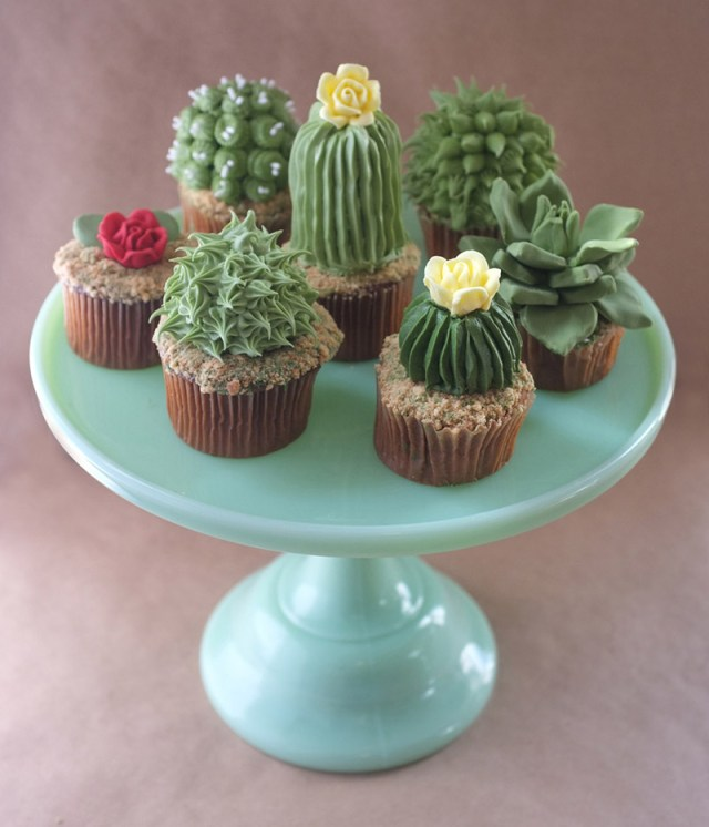 DIY House Plant Cupcakes plants food DIY cooking cake cacti
