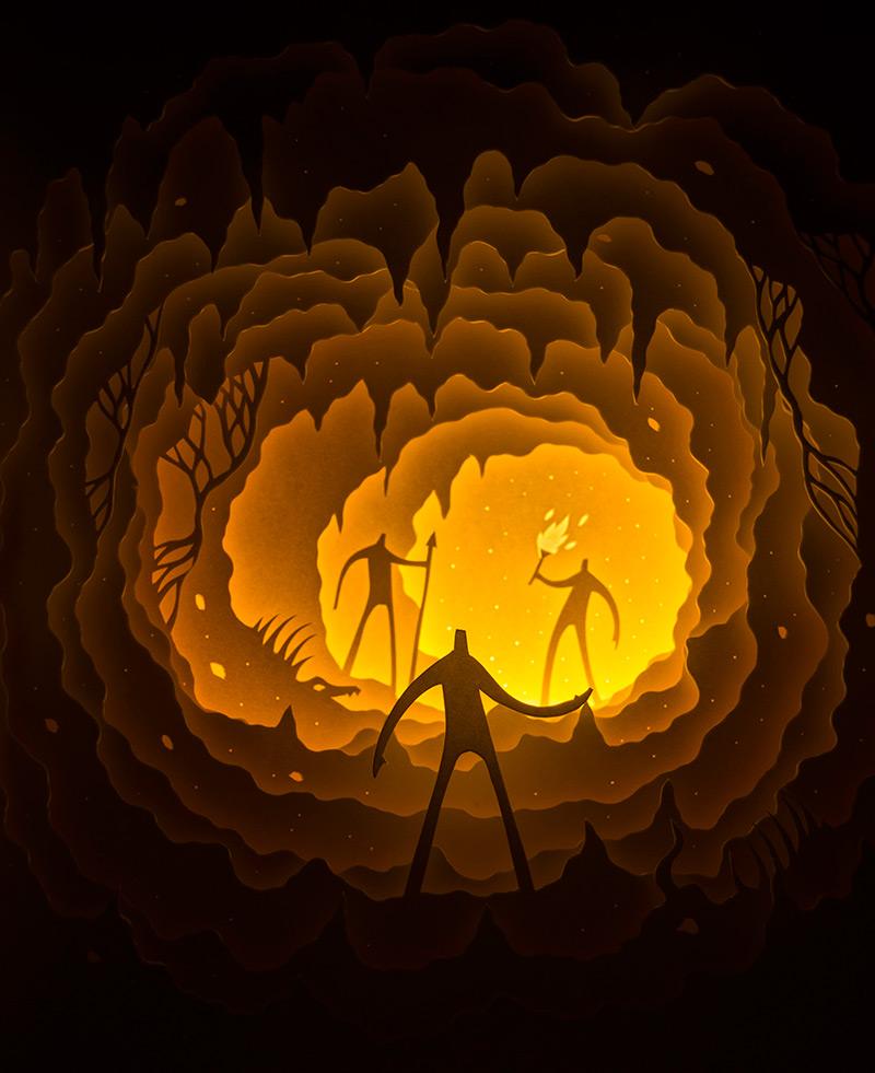 Illuminated Cut Paper Light Boxes by Hari & Deepti paper illustration dioramas