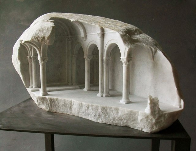 Miniature Medieval Interiors Carved into Raw Marble Blocks by Mathew Simmonds sculpture marble architecture