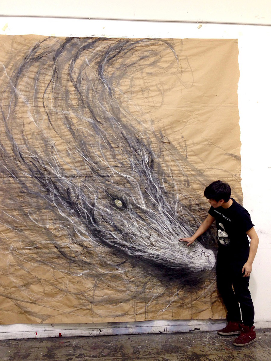 Animal Murals by Fiona Tang Appear to Leap from Gallery Walls trompe loeil optical illusion murals drawing animals