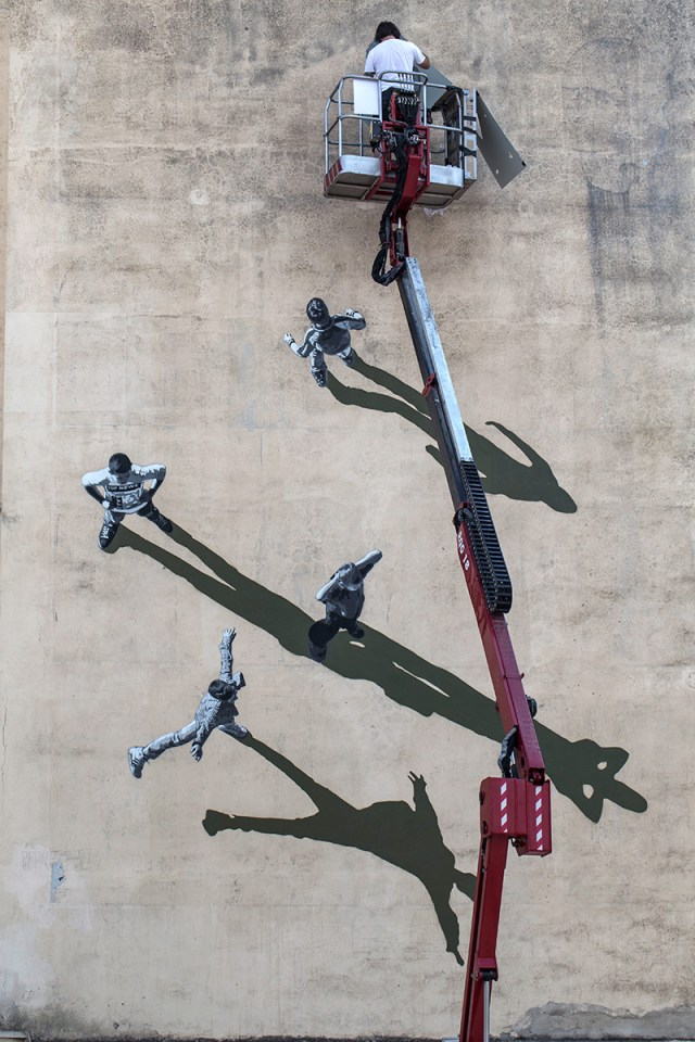 Shadowy Optical Illusion Wall Painting by Strøk › Inspiration Now