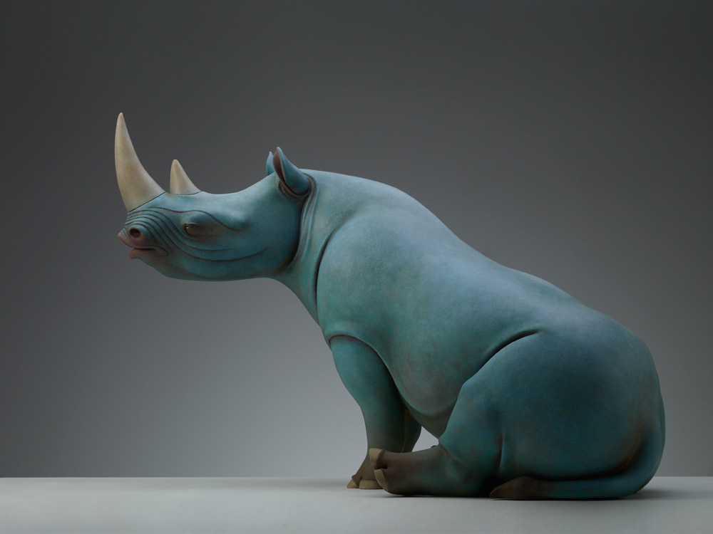 Surreal Animal Sculptures Carrying Monumental Elements of Nature by Wang Ruilin sculpture copper animals
