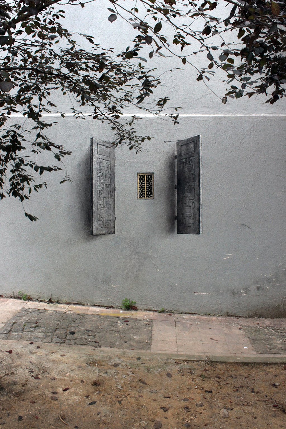Trompe lœil Window and Keyhole Illusions on the Streets of Istanbul by Pejac windows trompe loeil street art Istanbul