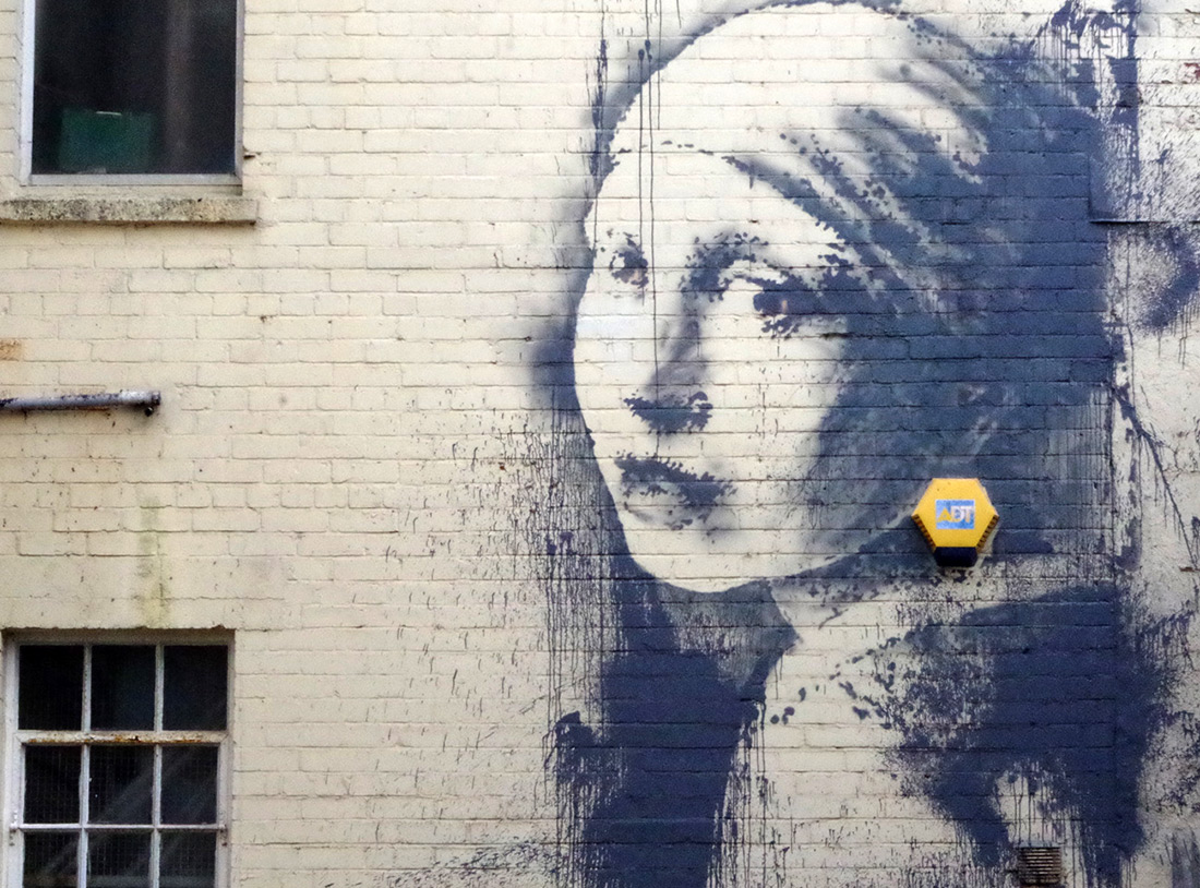 a new Banksy girl with pierced eardrum