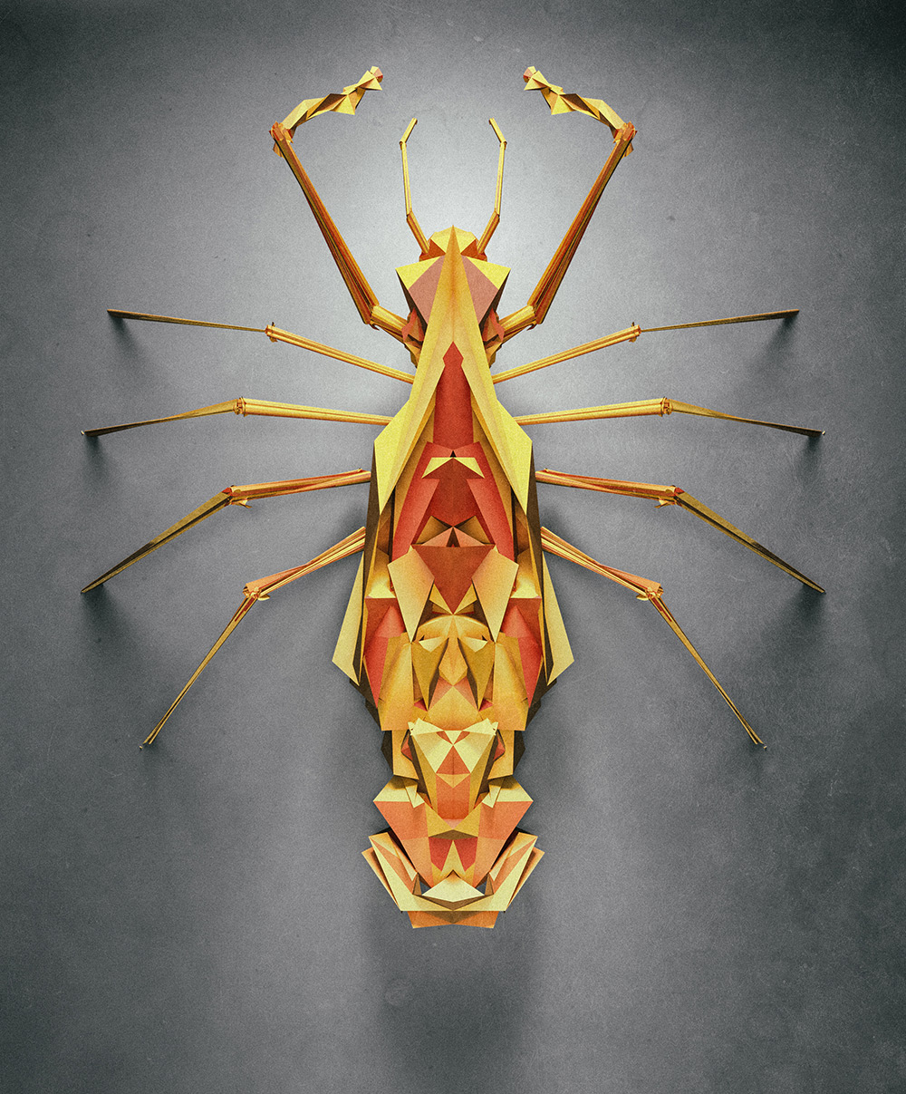 Randomly Generated Polygonal Insects by Istvan for NeonMob  insects geometric
