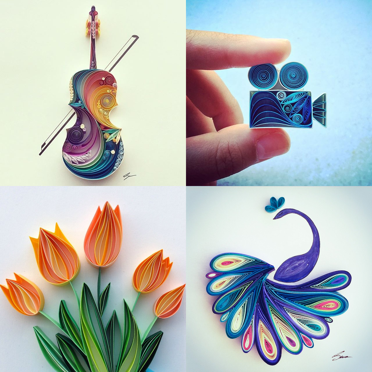 Colorful Quilled Paper Designs by Sena Runa