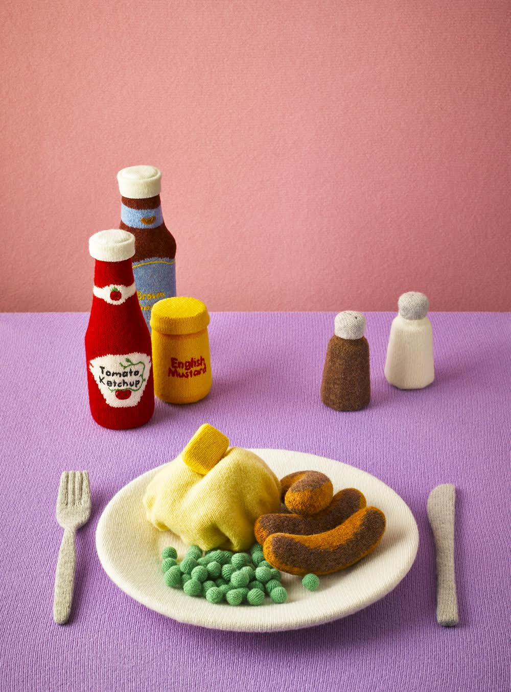 Knitted Food Knit Dinner Plate with Sausage Peas and Potatoes Ketchup Mustard Salt and Pepper
