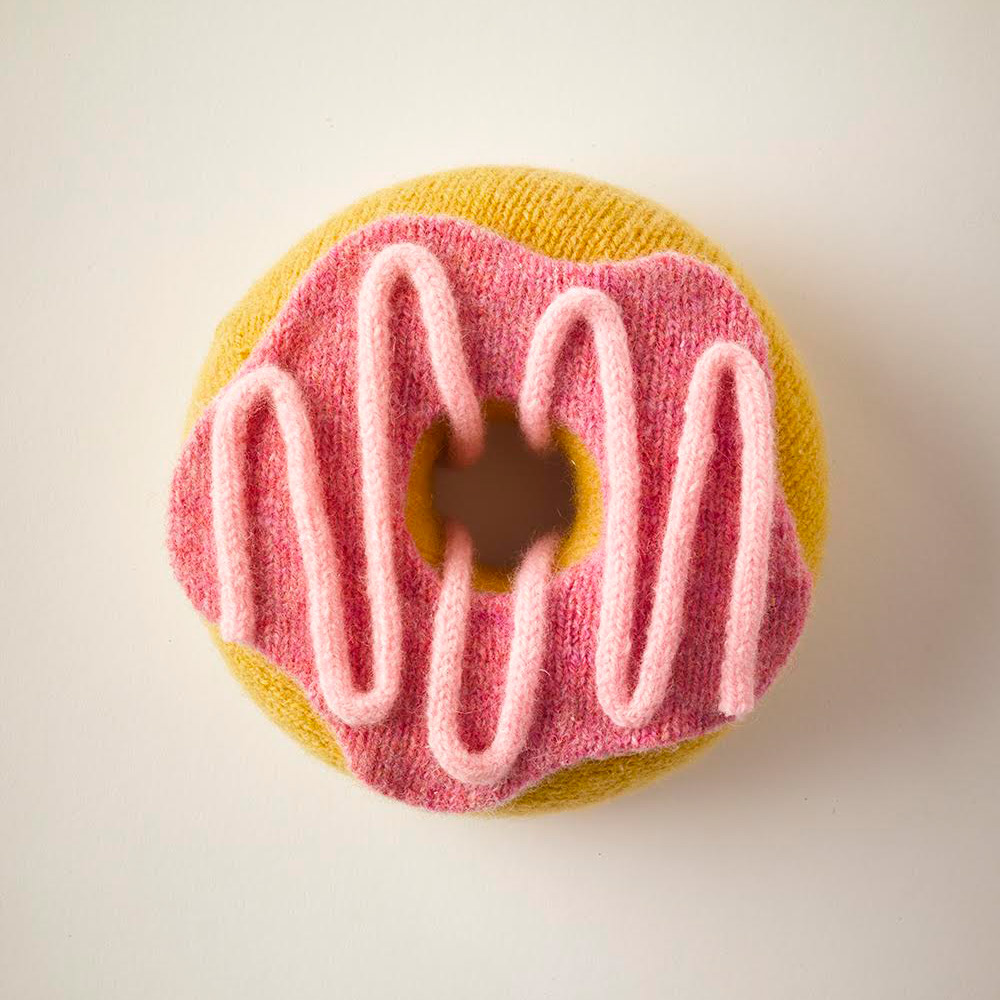 Knitted Food Knit Donut with Frosting Strawberry Icing Artwork