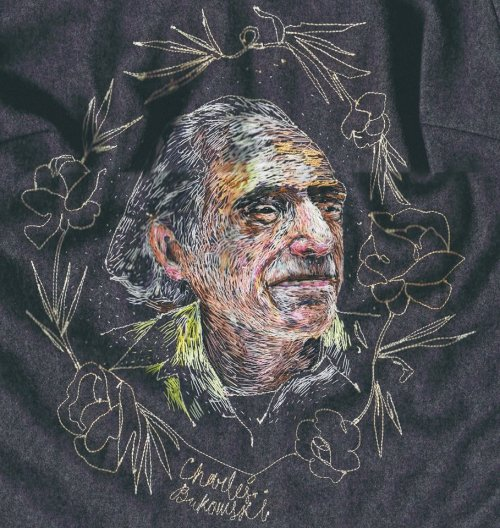 Embroidered Art Lisa Smirnova Embroideries Thread Painting Charles Bukowski