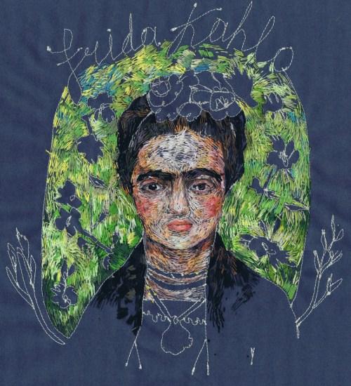 Embroidered Art Lisa Smirnova Embroideries Thread Painting Frida Kahlo