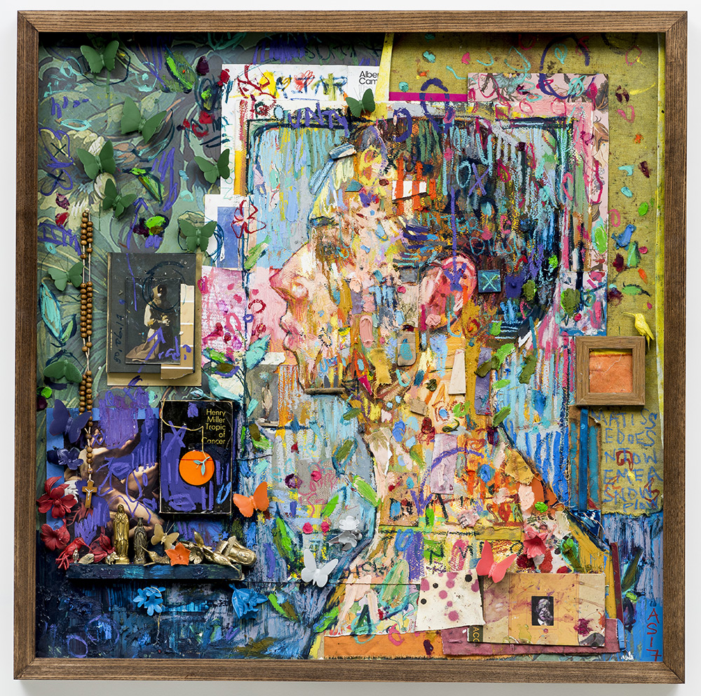 'Morning (Bacchus in Chains)' Oil, oil pastel, collage, ceramic items, thread, wood, mixed media collage, Virgin Mary statues, found book, found objects, postcard, and ocean noises on paper and wallpaper, 106 x 106cm