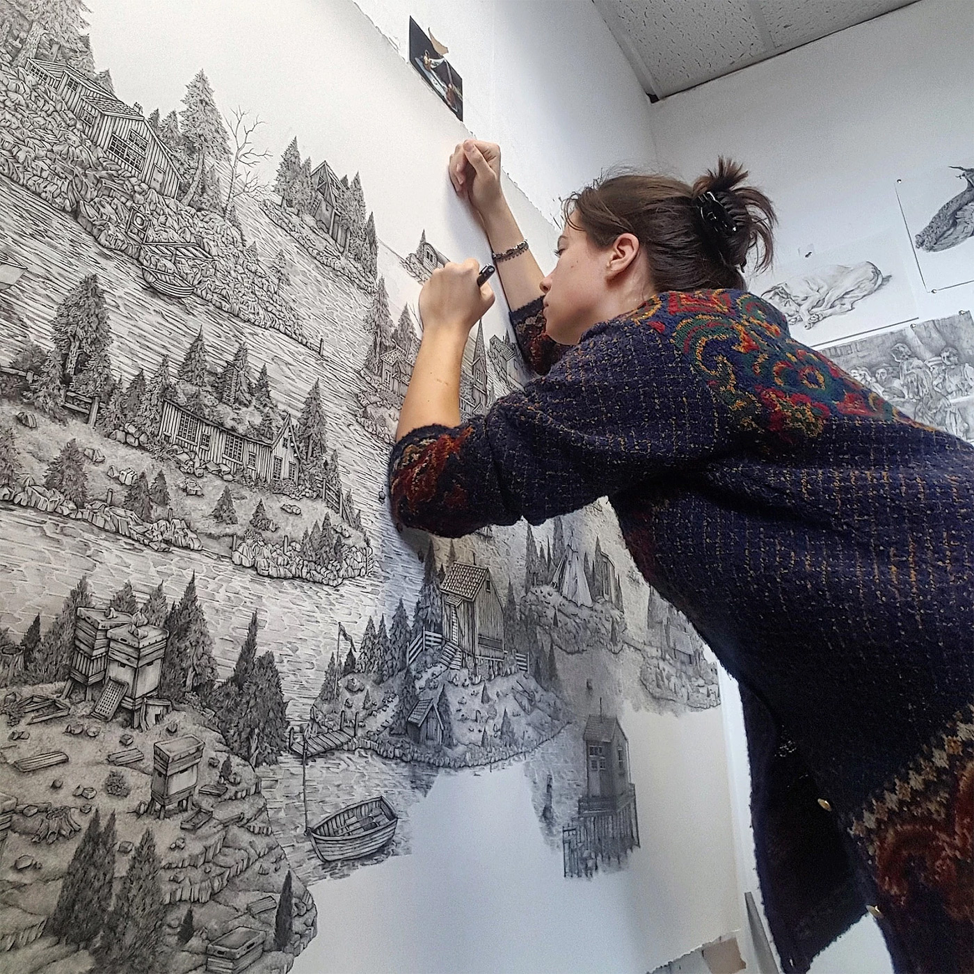 Monumentally Detailed Pen Drawings That Combine Real And
