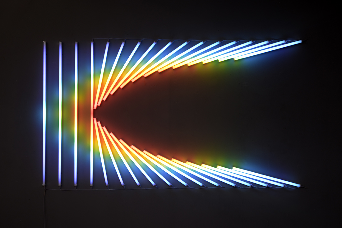 Horizontal Force (2015), LEDs, filters, wire, 220 x 120 cm